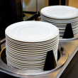 Stock Photo: Dishes and warmer cart