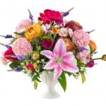 Flower bouquet in ceramic vase — Stock Photo