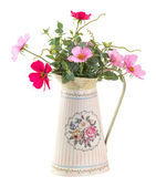 Colorful cosmo flower in vintage style pot — Stock Photo