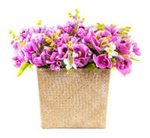 Bouquet of pink orchid in wicker basket — Stock Photo