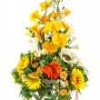 Bouquet of sunflower and vanda in glass vase  — Stock Photo