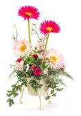Bouquet of rose and gerbera in metal bucket — Stock Photo