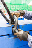 Fitting bolt anchor shackle with wire rope sling — Stok fotoğraf