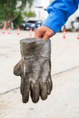Dirty leather gloves — Stock Photo