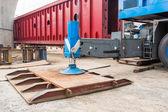 Crane outrigger pad — Stock Photo