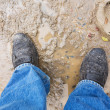 Foto Stock: Wet and dirty leather shoes
