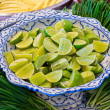 Sliced lime ready for Thai dish — Stock Photo