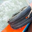 Stock Photo: Old rubber tire bumper