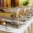 Warming trays for buffet line — Stock Photo