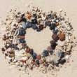 Stone arrangement as heart frame on the beach — Stock Photo