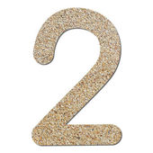 Font rough gravel texture numeric 2 — Zdjęcie stockowe