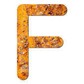 Font rusty steel texture alphabet F — Stock Photo
