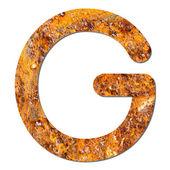 Font rusty steel texture alphabet G — Stock Photo