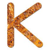 Font rusty steel texture alphabet K — Stock Photo