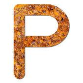 Font rusty steel texture alphabet P — Stock Photo