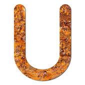 Font rusty steel texture alphabet U — Stock Photo