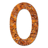 Font rusty steel texture numeric zero 0 — Stock Photo