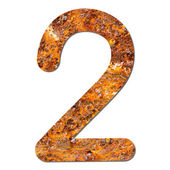 Font rusty steel texture numeric two 2 — Stock Photo