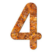 Font rusty steel texture numeric four 4 — Stock Photo