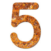 Font rusty steel texture numeric five 5 — Stock Photo