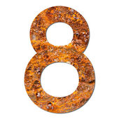 Font rusty steel texture numeric eight 8 — Stock Photo