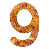 Font rusty steel texture numeric nine 9 — Stock Photo