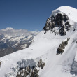 Of climbers roped together on Breithorn - Stock Photo