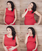 Beautiful pregnant girl in a red dress — Stock Photo