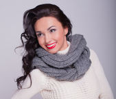 Beautiful girl in a scarf — Stock Photo