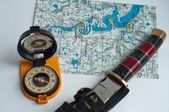 Kompas a mapa. — Stock fotografie
