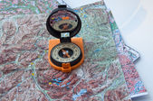 Compass and map. — Stock Photo