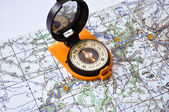 Compass on the map. — Fotografia Stock