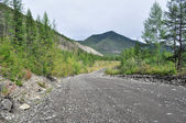 Soil highway in Yakutia. — Stock Photo