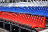 Plastic seats in the stadium. — Foto de Stock