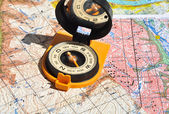 Compass and  maps.  — Stock Photo