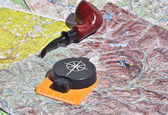 Map, compass and pipe Smoking area.  — Stock Photo