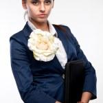 Portrait of a girl secretary with a folder — Stock Photo