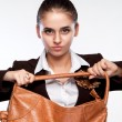 Portrait of a girl who pulls the bag — Stock Photo