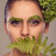Fern girl covers her mouth (retro) — Stock Photo