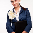 Portrait of a girl with a smile and Secretary folder — Stock Photo