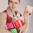 Young man surprised gifts (retro) — 图库照片