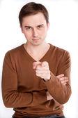 Evil director points the finger forward — Stock Photo
