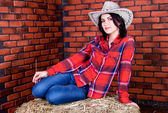 Cowboy girl sits on hay in a plaid shirt and jeans — Stock Photo