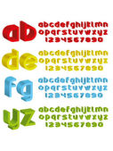 3d alphabet in different colours — Stock Vector
