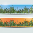 Banners with grass — Stock Vector