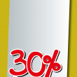 Stock Vector: Thirty percent icon on white paper