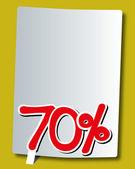 Seventy percent icon on white paper — Stock Vector