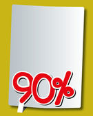 Ninety percent icon on white paper — Stock Vector