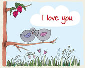 Valentine's day background with birds in love — Stock Vector