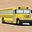 Stock Vector: Old school bus illustration on old paper